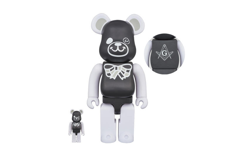 fragment design Medicom Toy Freemasonry BEARBRICK Collaboration Black White T Shirt 100 400 2017 November 25 Release Date Info All-Seeing Eye Square Compass Panda