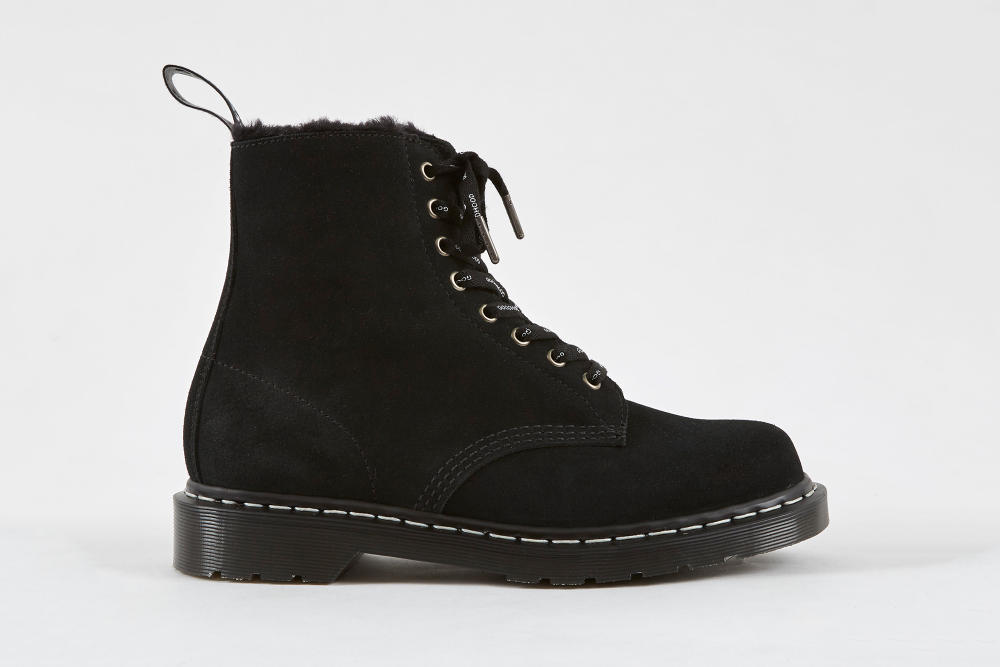 Goodhood Dr. Martens 8-Hole Boot Black Colorway Suede Outer Faux Fur Lined Shoe