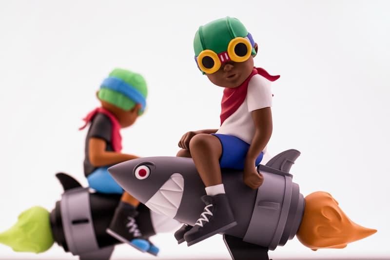 Hebru Brantley Billionaire Boys Club BBC BAIT ComplexCon Collectibles Art Artwork fly boy toy figurine bomb shark missile black white