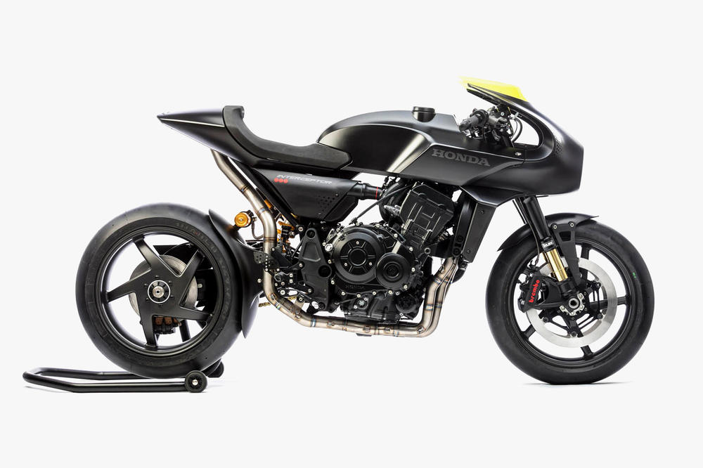 Honda CB4 Interceptor Retro Futuristic Motorcycle EICMA Milan 2017 touchscreen display tank wink fan headling led ring wind power bike
