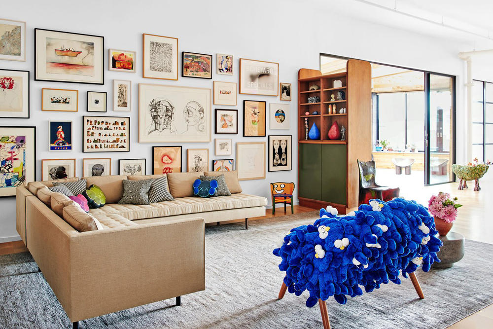 KAWS Brooklyn Home House Architectural Digest Cover Story takashi murakami paintings studio magazine wall sculptures bff chairs