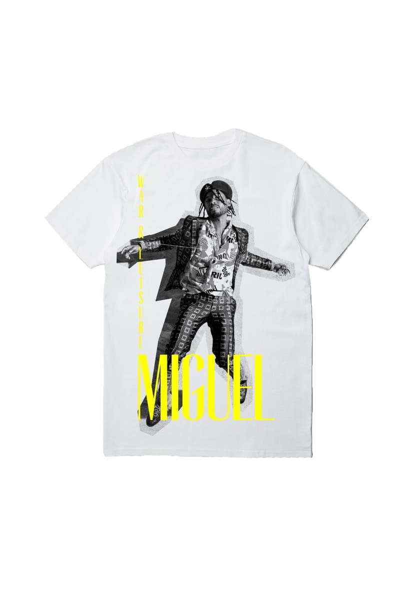 Miguel PLEASURES War and Leisure Capsule Collection fashion music merch t-shirt hoodie album lp tour project
