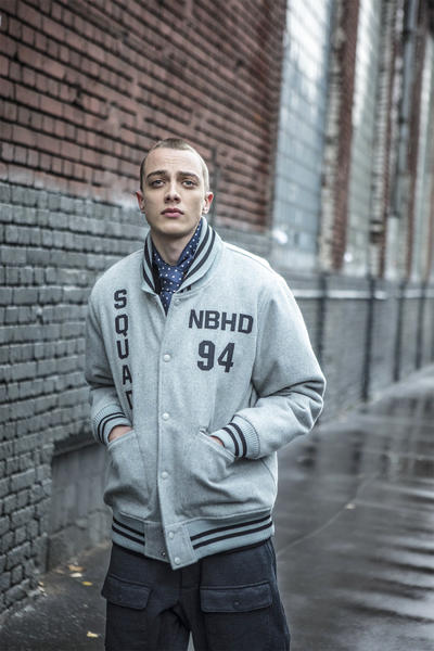NEIGHBORHOOD 2017 Fall Winter Editorial GRIND Magazine Moscow Japan Styling Shearling Jacket Jeans Patches Overall Logo Neck Warmer Baseball Jacket