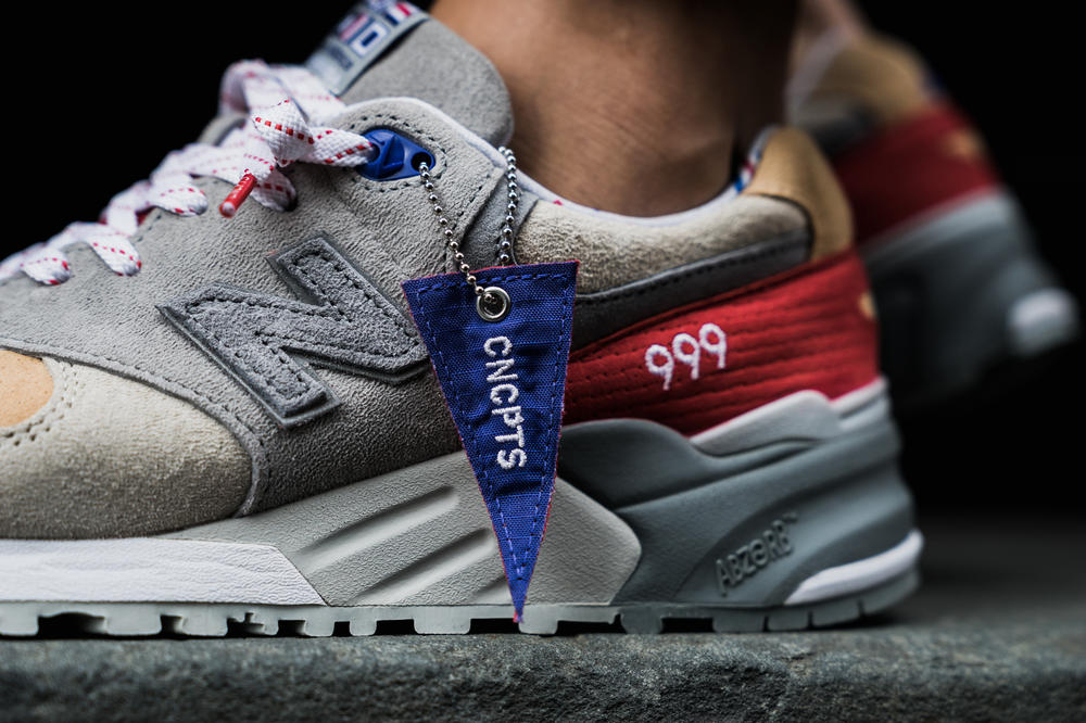 Concepts New Balance 999 Kennedy Hyannis Closer Look Footwear Red White Blue Grey Release Date Info Drops