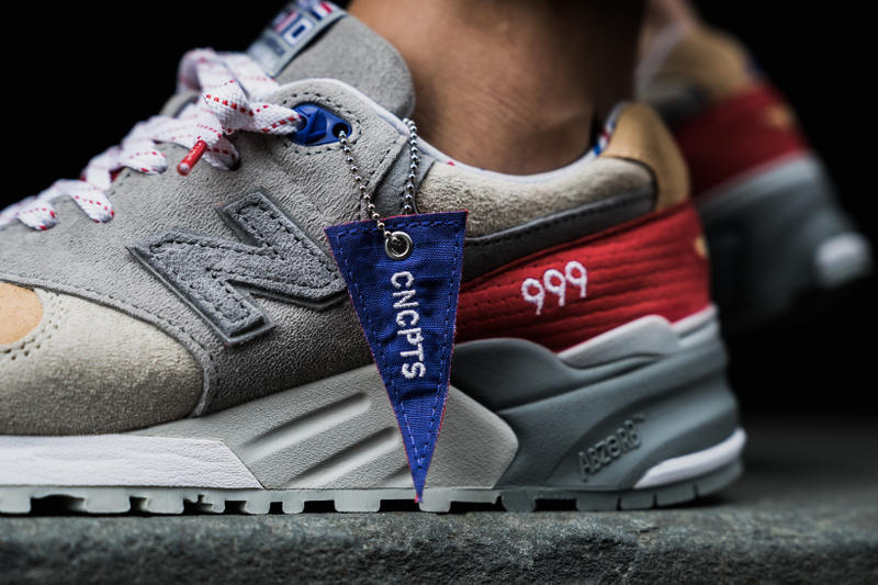 154dc105b201 Concepts New Balance 999 Kennedy Hyannis Closer Look Footwear Red White  Blue Grey Release Date Info
