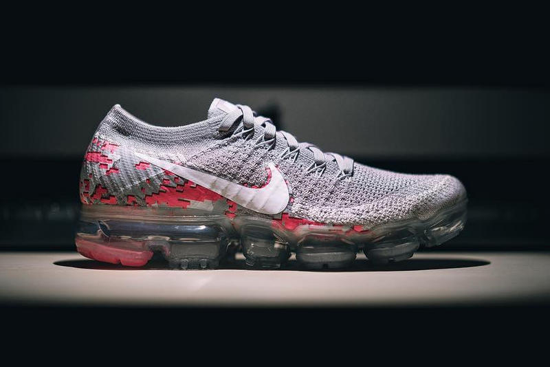 Nike Air Vapormax Graphic Flyknit Upper Grey Pink Sneakers Shoes Footwear