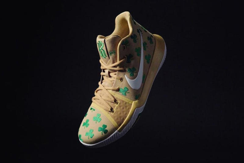 19185280a861 Nike Kyrie 3 Luck Boston Celtics Gold Green Shamrock 2017 November 17  Release Date Info House