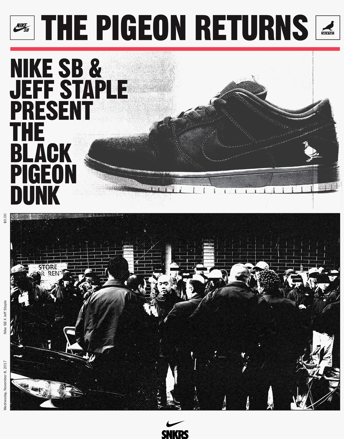 Nike SB Dunk Low Black Pigeon Release SNKRS Jeff Staple Newspaper