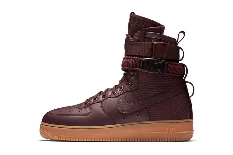 Nike SF AF1 Maroon Gum Burgundy Air Force 1 2017 November December Release Date Info Sneakers Shoes Footwear