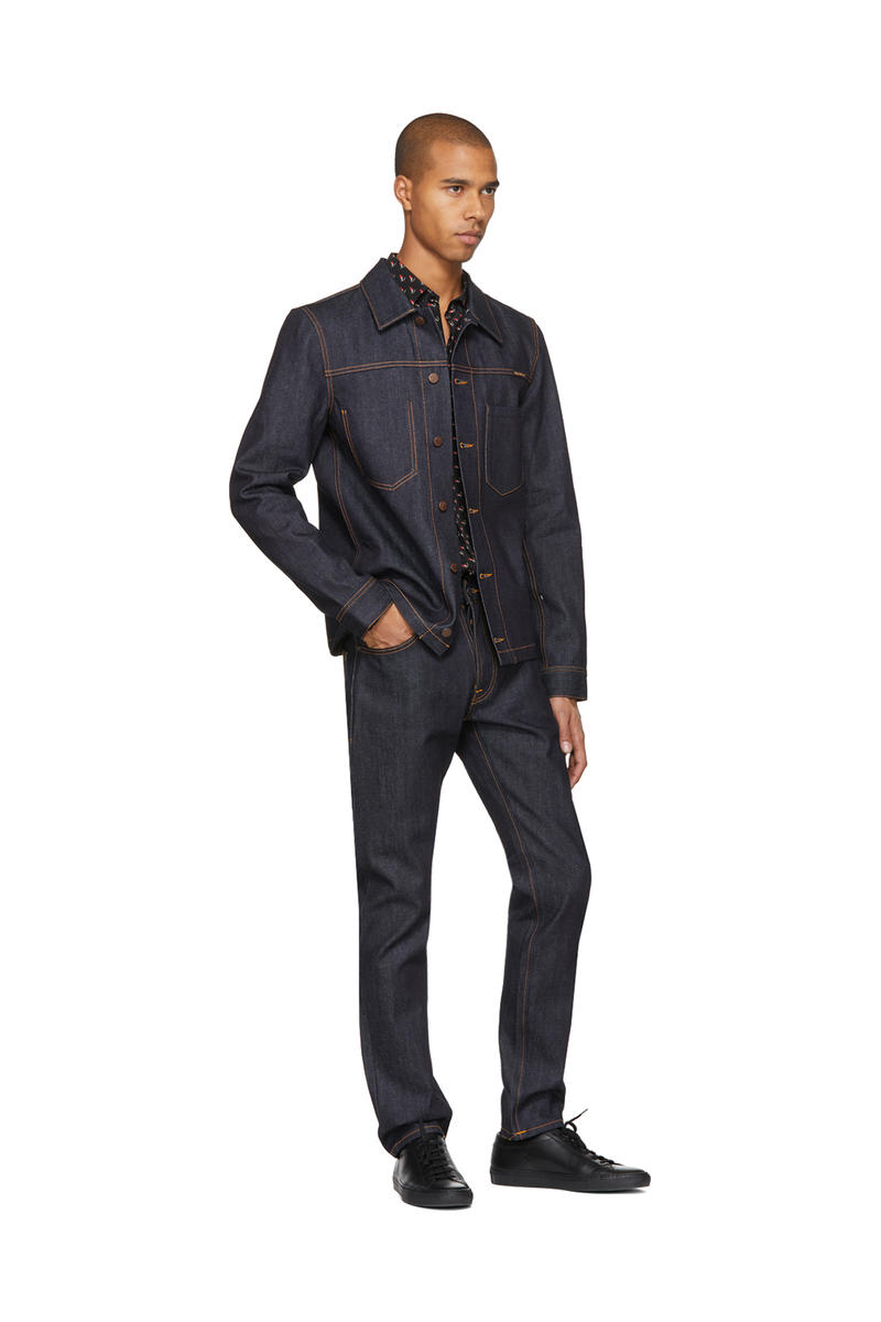 Nudie Jeans 2017 Fall Winter SSENSE Exclusives Painted Dry Selvedge Ronny Jacket Fearless Freddie Black Blue Patches Skinny Lin