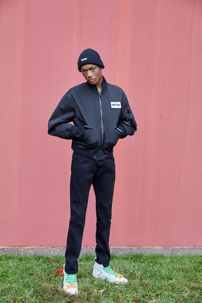 OFF WHITE 2018 Pre Fall House Hunting Collection Lookbook Virgil Abloh April Release Date Info Drop Release Suit Beret Sneaker Suit Jumpsuit Logo Scarf Jacket Bomber Bag Belt Sweater Sandal Slide Tie