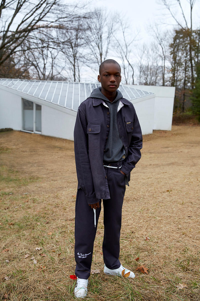 OFF WHITE 2018 Pre Fall House Hunting Collection Lookbook Virgil Abloh April Release Date Info Drop Release Suit Beret Sneaker Suit Jumpsuit Logo Scarf Jacket Bomber Bag Belt Sweater Sandal Slide Tie