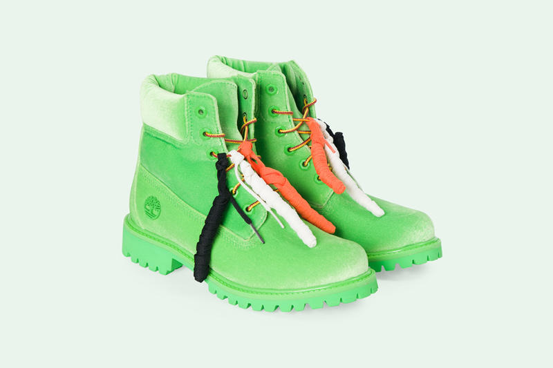 Off White Virgil Abloh Timberland 6 Inch Boots Green Leather Black White Orange March 8 2018 Release Date Info Drops