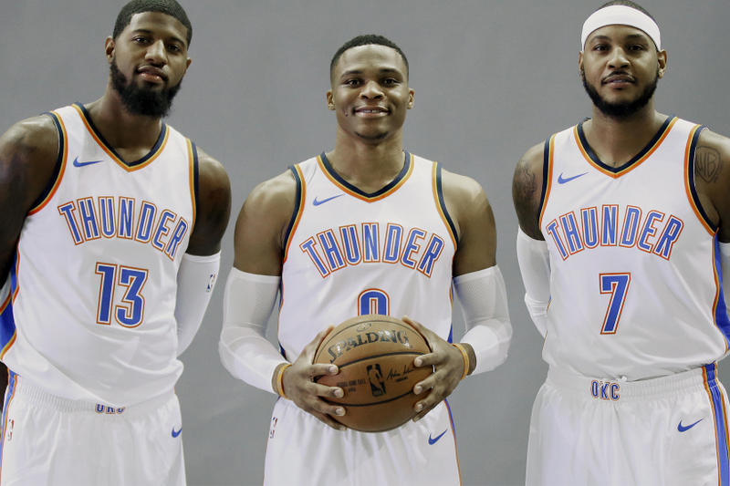 Oklahoma City Thunder Highest Paid Team Sports teams OKC Russell Westbrook Carmelo Anthony Paul George intelligence