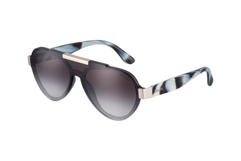 3b094aae376 Prada Sunglasses 2017 Fall Winter Collection Italy Luxottica Frames Aviator  Lenses Prints Pattern