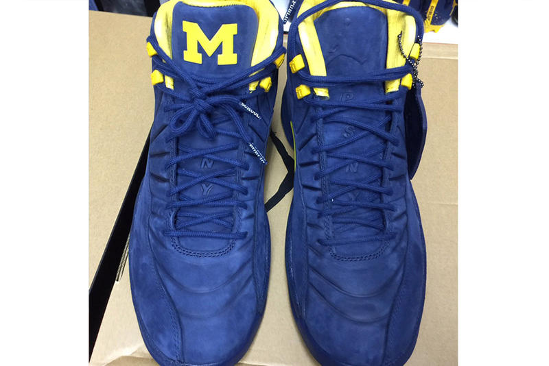 d5a7dca68a40 PSNY Air Jordan 12 Michigan Football PE Colorway Blue Yellow Wolverines