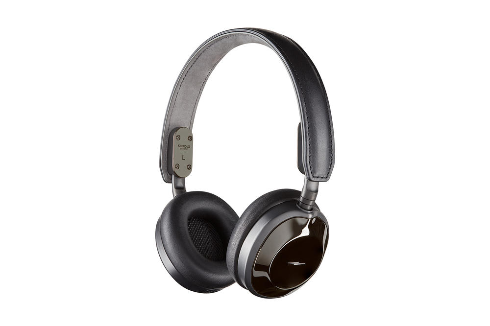 Shinola Canfield Over On Ear Headphones brown black silver metallic metal leather music monitor