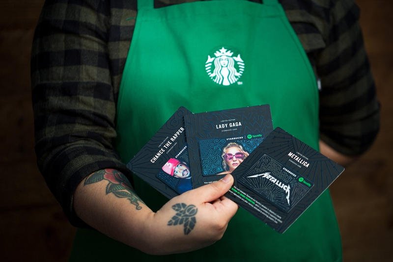 Starbucks Spotify 2017 Holiday Gift Cards Chance the Rapper Lady Gaga Metallica christmas
