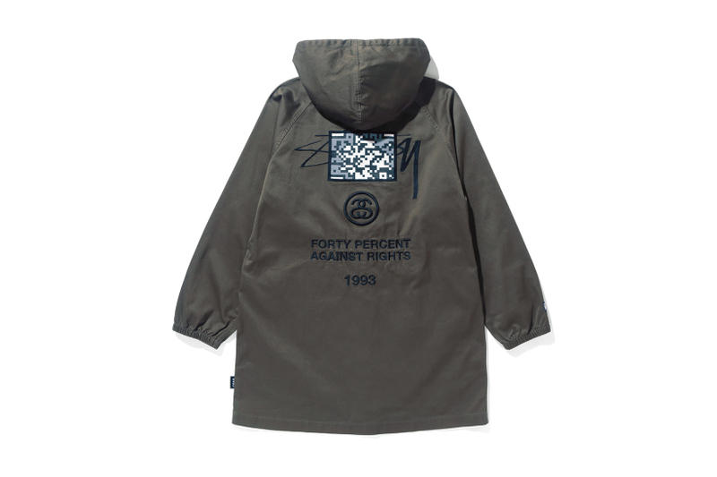 Stussy FORTY PERCENTS AGAINST RIGHTS Parka FPAR 2017 Fall Winter Olive Drab Green Collaboration November Release Date Info pop-up collaboration qr code isetan shinjuku embroidery Japan Tetsu Nishiyama