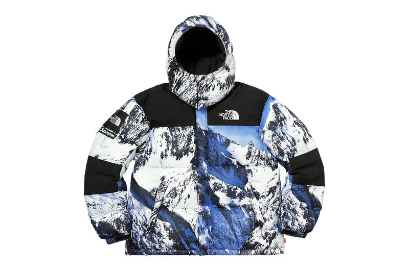 Supreme The North Face Winter 2017 Collection Release Baltoro Mountain  Parka White Blue Jacket Backpack Blanket 8140fb720