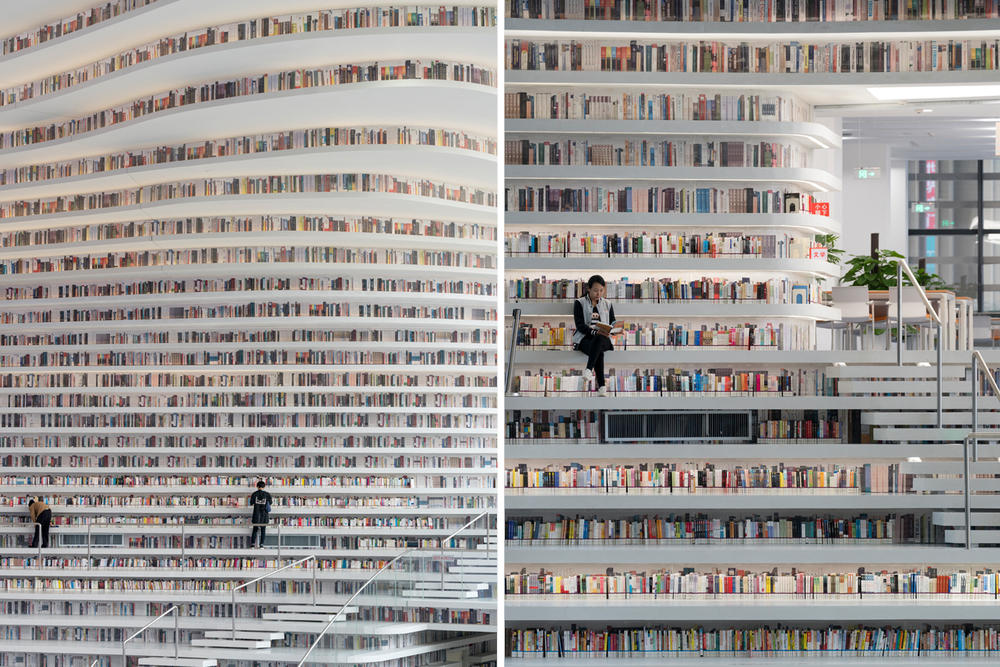 Tianjin Binhai Library China Design By MVRDV develop GMP architekten architecture architectures sphere ball white bgass urban planning and design institute TUPDI cave books bookshelves bookshelf orb eye