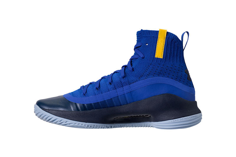 Under Armour Curry 4 Away Road Games Golden State Warriors 2017 November 11 Release Date Info Sneakers Shoes Footwear blue yellow gold color colorway