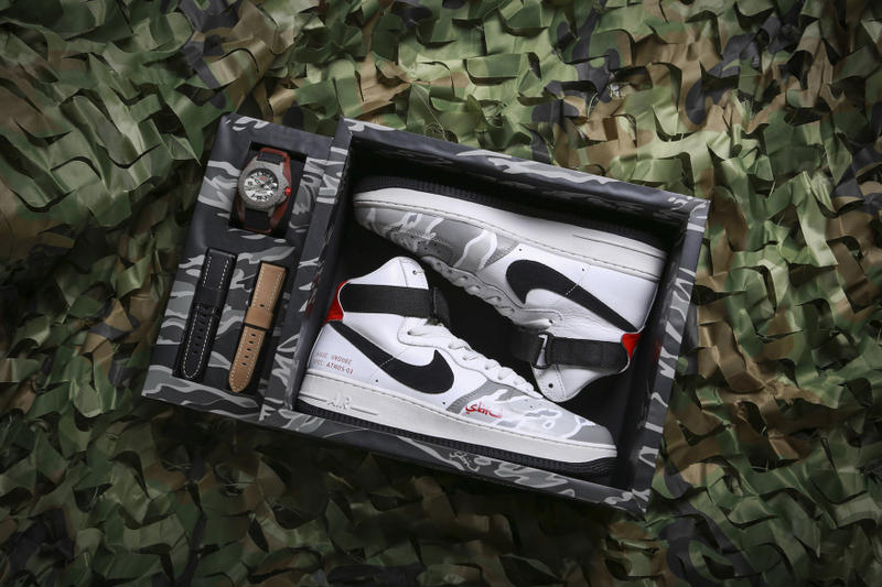 UNDONE SBTG atmos Nike Air Force 1 High Watch Camo Camouflage 2017 November 11 12 Release Date Info Sneakers Shoes Footwear Strap Band Custom Limited Drop CON