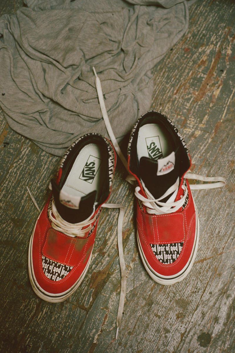 Exclusive Vans Fear of God FOG f.o.g. Collection Jerry Lorenzo Footwear sneakers shoes red white black corduroy, canvas or suede Slip-On 47 V DX Mountain Edition 35 DX and Era 95 DX pacsun pac sun