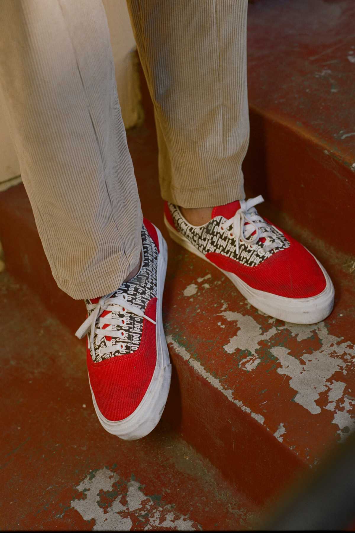 tan and red vans