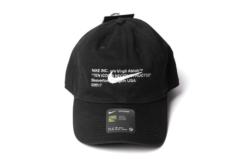 Virgil Abloh Nike TEN ICONS RECONSTRUCTED Hat Cap Black White COMME des GARCONS Seoul Release Info Date Drops