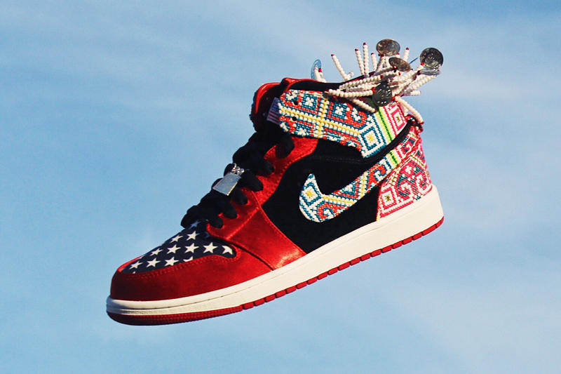 Ting Meister Designs Custom Hmong Air Jordan 1 Hmong American Festival in May 2018 Minneapolis china chines sneakers kicks shoes red black beads