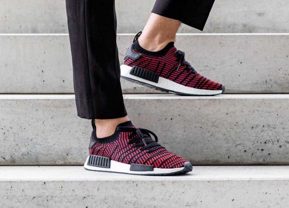 On Feet Look Adidas Nmd R1 Stlt Core Black Red Hypebeast