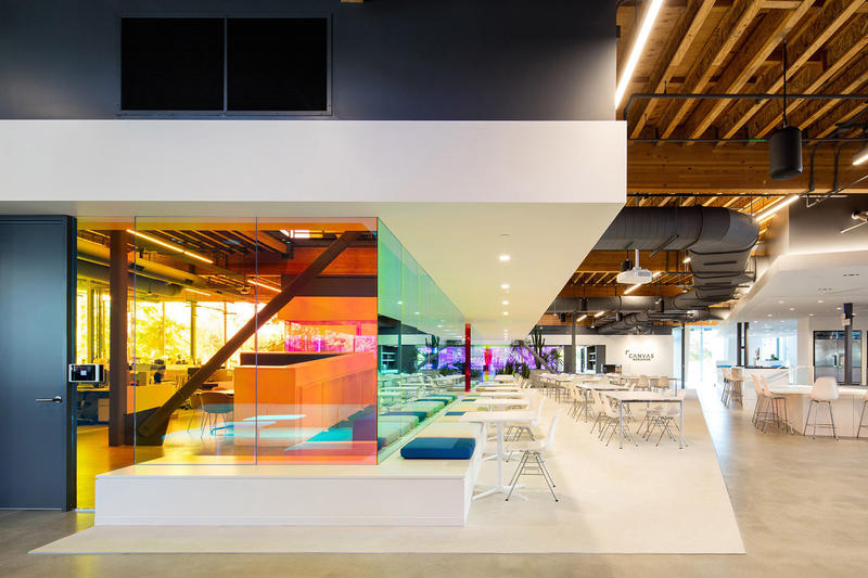 A+I Architects Canvas Agency Architecture Design Colorful Dichroic Glass Workspace Los Angeles