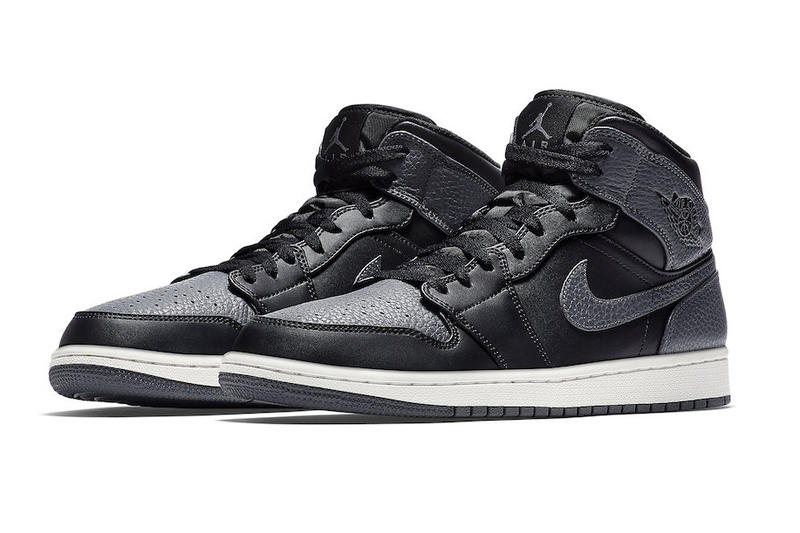Air Jordan 1 Mid Dark Grey black tumbled Leather colorway release date