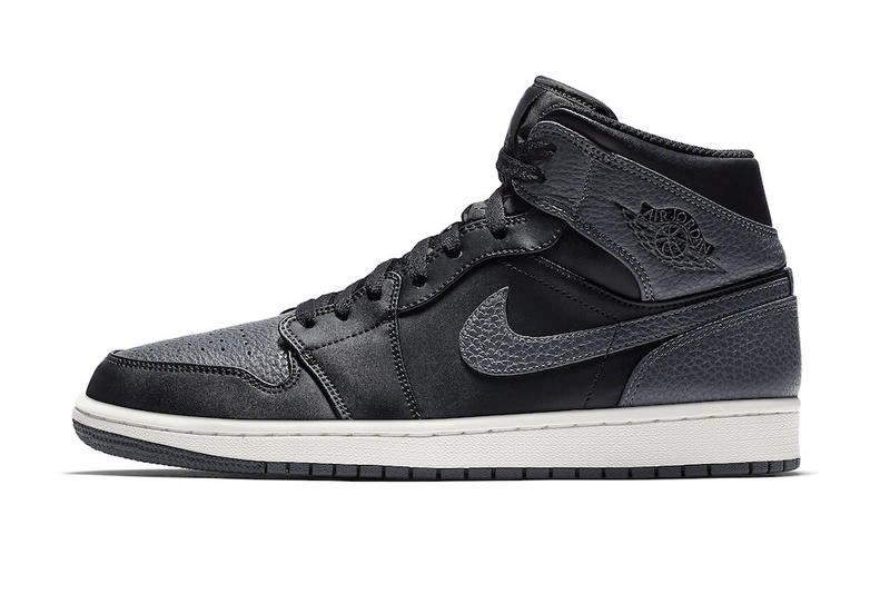 7c4f15ea98a Air Jordan 1 Mid Dark Grey black tumbled Leather colorway release date