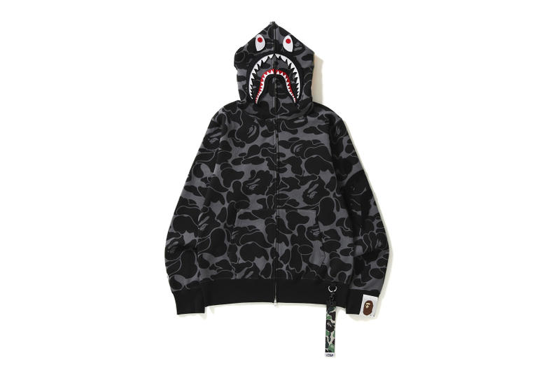 BAPE A Bathing Ape Big ABC Solid Camo Detachable Shark Hoodie Black