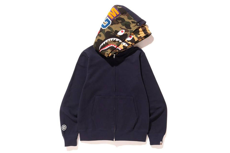 BAPE A Bathing Ape Shark Full Zip Double Hoodie Red Navy Black