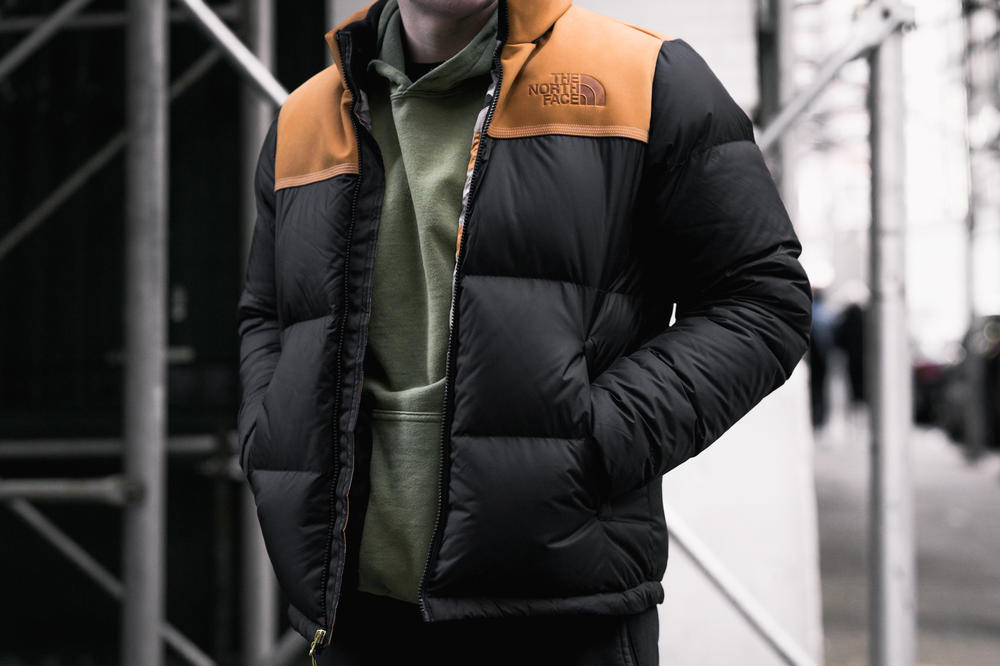 The North Face Timberland 2017 Fall Winter Collaboration Release Drop Nuptse Jacket Nubuck Branding Logos 6 inch boot down puffer black wheat hood removable