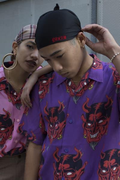 DELAM Spring/Summer 2018 Lookbook japan new york streetwear headwrap du-rag skullcap oni folklore purple pink