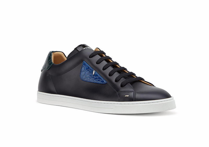 Fendi Calfskin Leather Low-Top Sneakers Black White Croc Skin Mens Shoes Sneakers Luxury Designers White Golf Oxblood Red