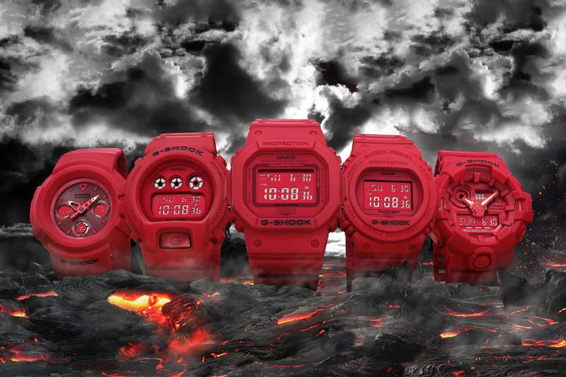 G Shock 35th Anniversary Red Out Collection Watches DW 5635C AWG M535C DW 5735C DW 6935C  GA 735C