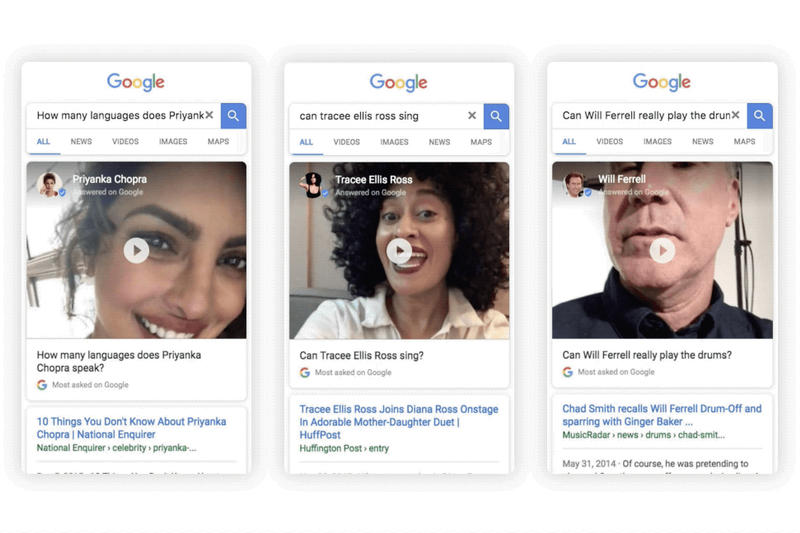 Celebrities celebs Answer Questions In Google Search results video selfie themselves mobile web browser will ferrel Tracee Ellis Ross
