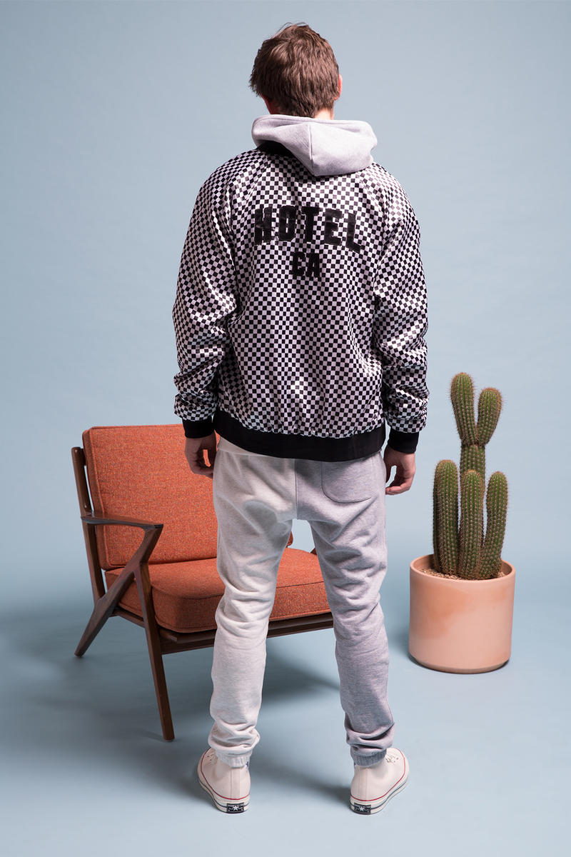 HOTEL 1171 2017 Holiday Collection Lookbook Limited Edition Satin Stadium Jackets French Terry Sweat suit pants hoodie logo branding California