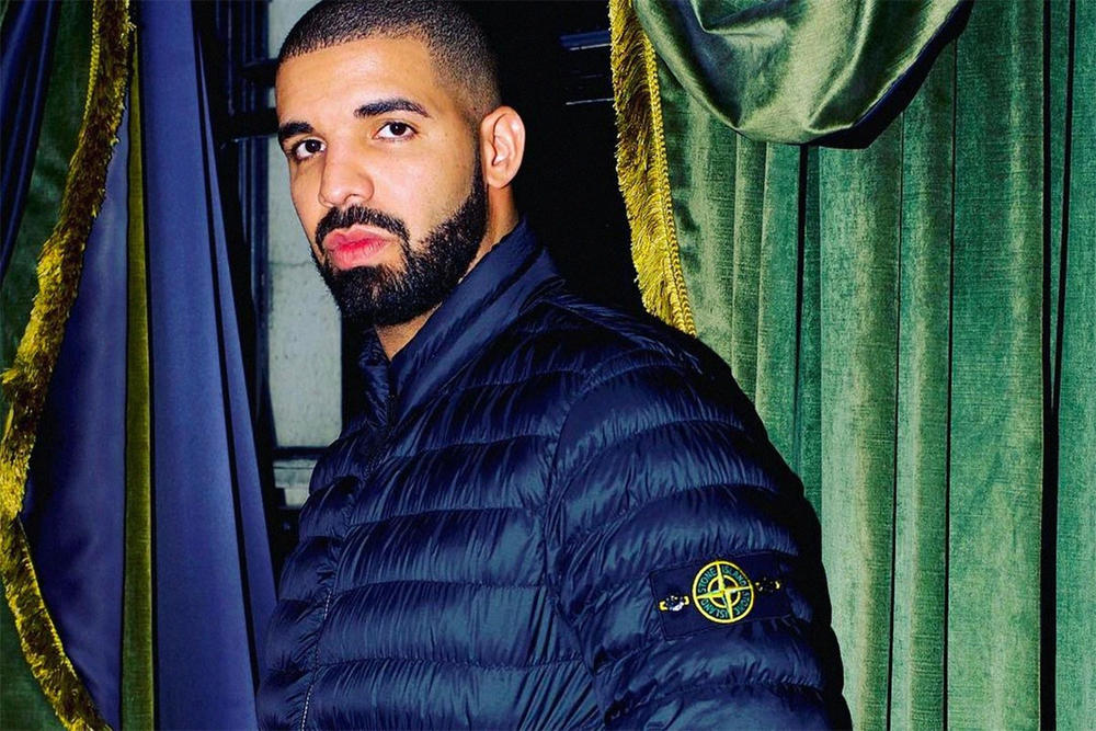 What Men Wanted to Wear in 2017 Lyst List Drake Stone Island Collaboration Romper Romphim Cardholder Sweatpant Streetwear Palace Supreme Champion Yeezy Jeans straight skinny leg pink color outdoors the north face patagonia gucci balenciaga vetements nike adidas