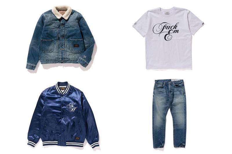 "Neighborhood Denim Pieces Baseball Jacket ""Fuck 'Em' T-shirt"