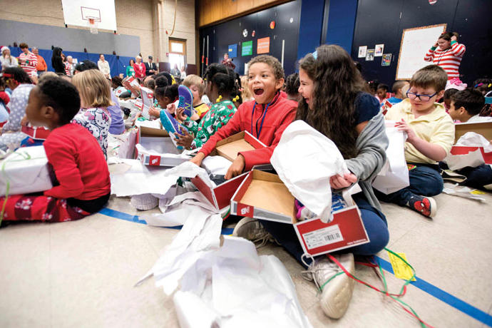 Overton Elementary School New Balance Shoes North Carolina Christmas Gift Donation