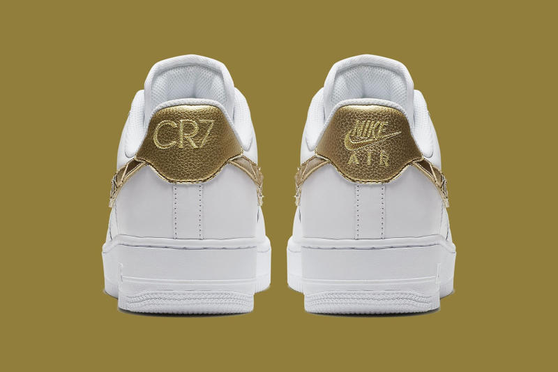 cbad4a6503 Nike Air Force 1 CR7 Cristiano Ronaldo White Gold 2017 December 7 Release  Date Info Sneakers