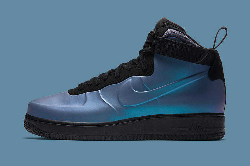 buy popular 0b98e 8e845 Nike Air Force 1 Foamposite Black Blue Iridescent January 6 2018 Release