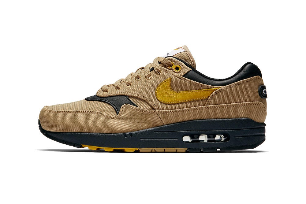 Nike Air Max 1 x 93 Release Info 2018 shoe sneaker swoosh Elemental Gold Mineral Yellow Clay Green  Hyper Royal canvas rubber brown tan