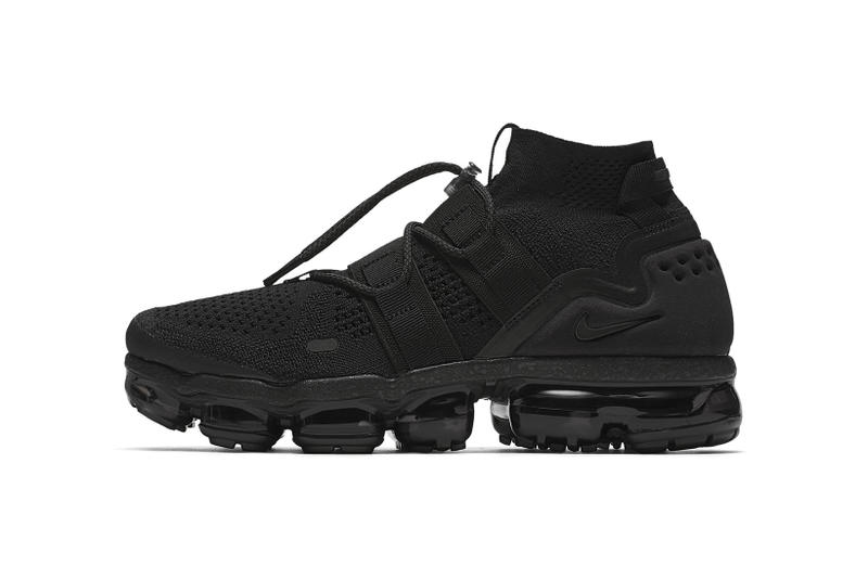 4b68779101e Nike Air VaporMax Flyknit Utility Triple Black 2017 2018 Release Date Info  Sneakers Shoes Footwear